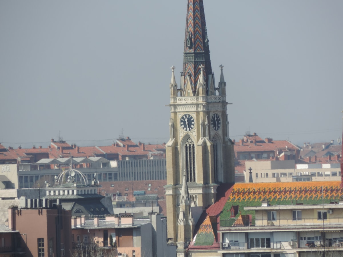 church tower, downtown, landmark, panorama, Serbia, town, architecture, tower