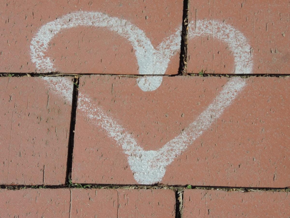 серце, Кохання, романтичний, символ, бетону, Цегла, візерунок, гранж