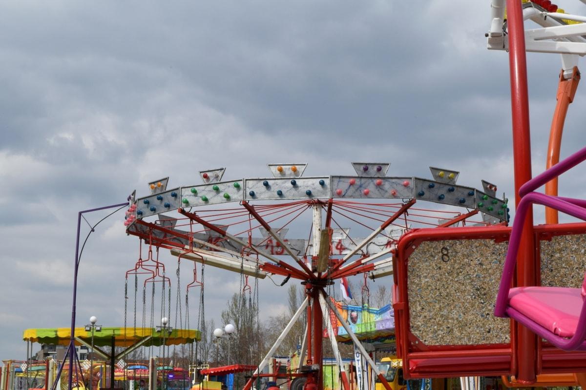 underholdning, festivalen, parkere, karusellen, mekanisme, karneval, fritid, rekreasjon
