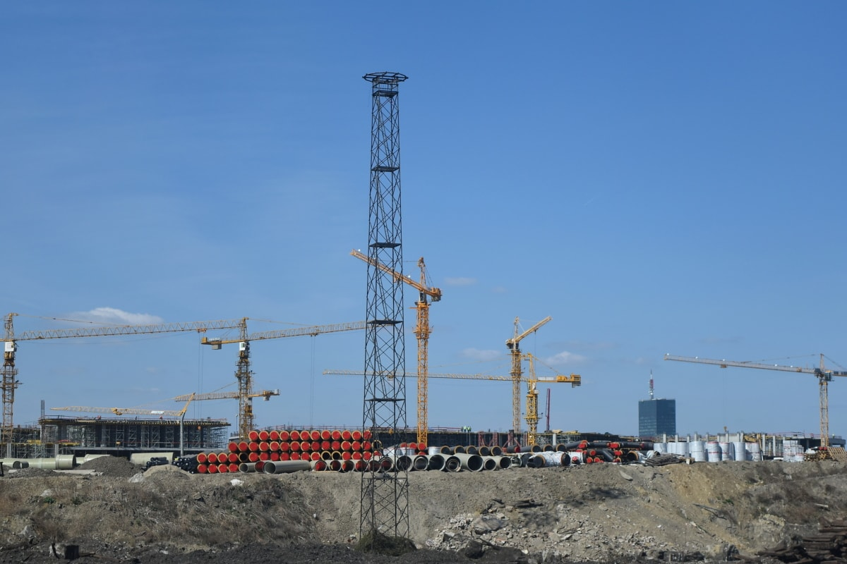 construction, field work, workplace, industry, tower, equipment, crane, pollution