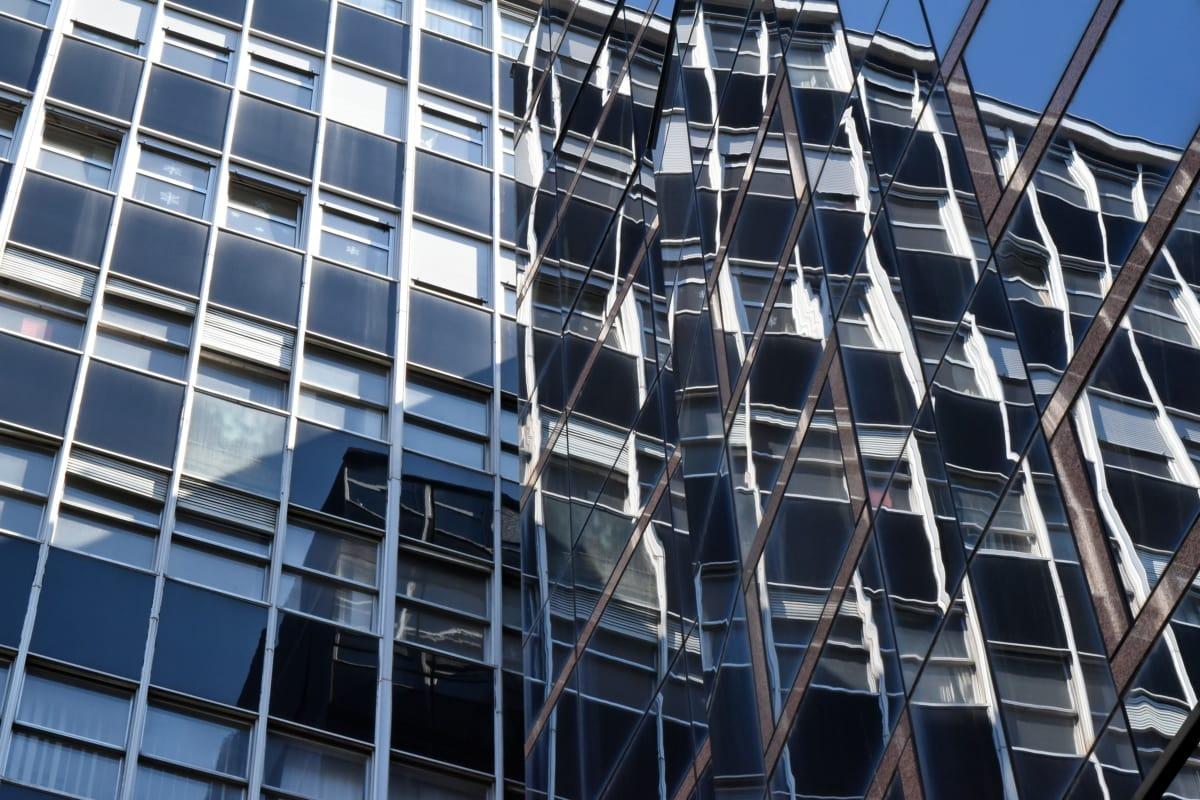 futurista, vidrio, reflexión, ventanas, moderno, arquitectura, ventana, construcción