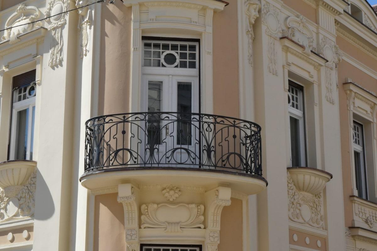 barokní, litina, Evropská, architektura, budova, balkon, dům, fasáda