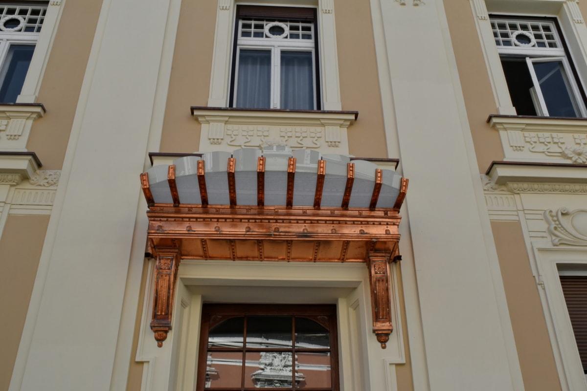 főváros, bejárat, homlokzat, építészet, ház, épület, szerkezete, ablak