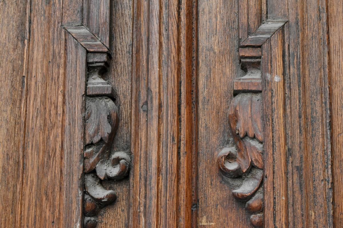 dřevěný, textura, dveře, západka, uzávěr, staré, dřevo, Brána