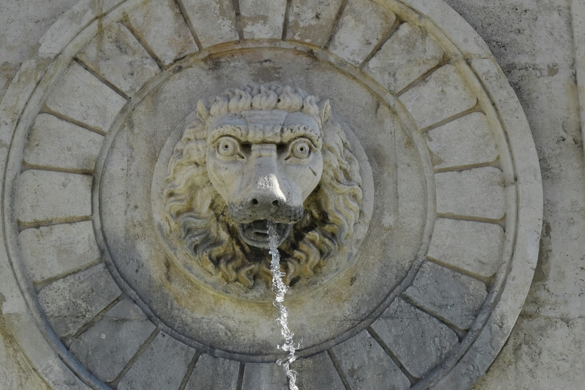 art, fountain, head, lion, sculpture, water, architecture, old