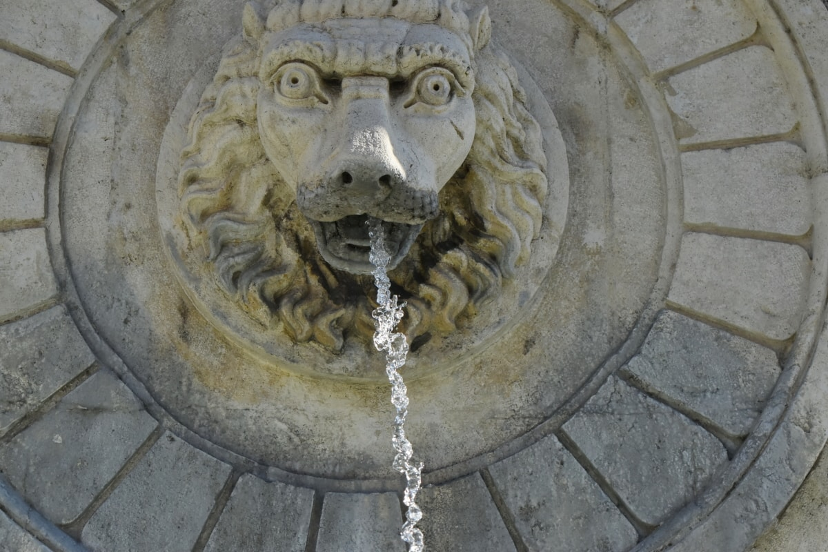 fountain, head, lion, marble, sculpture, hole, old, architecture