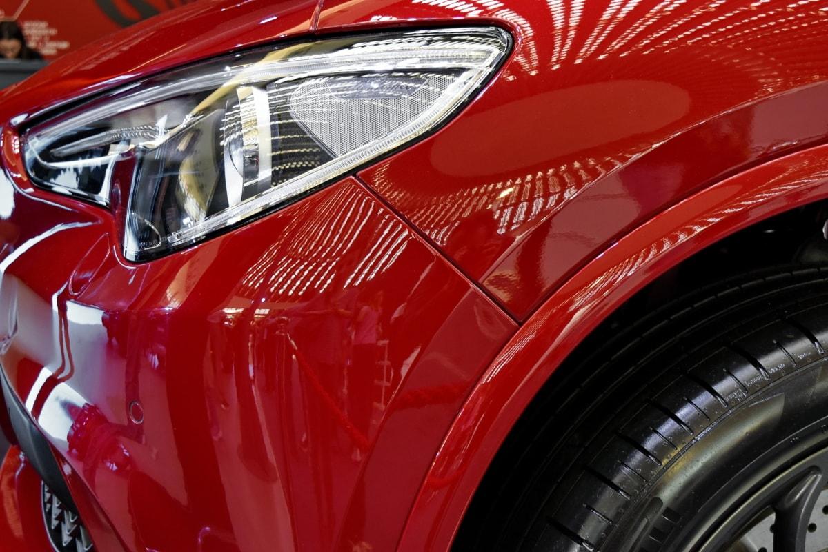 automobile, bumper, headlight, luxury, red, reflection, tire, exhibition