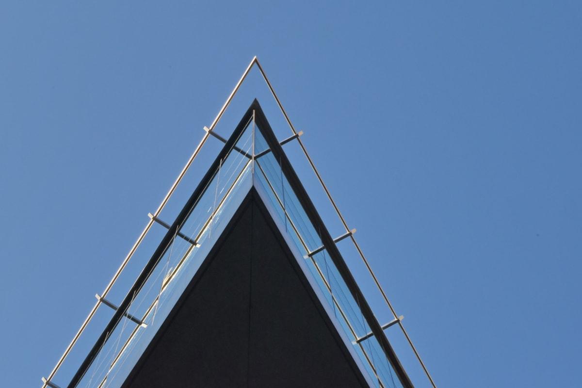 bygge, futuristisk, moderne, perspektiv, trekant, struktur, arkitektur, teknologi