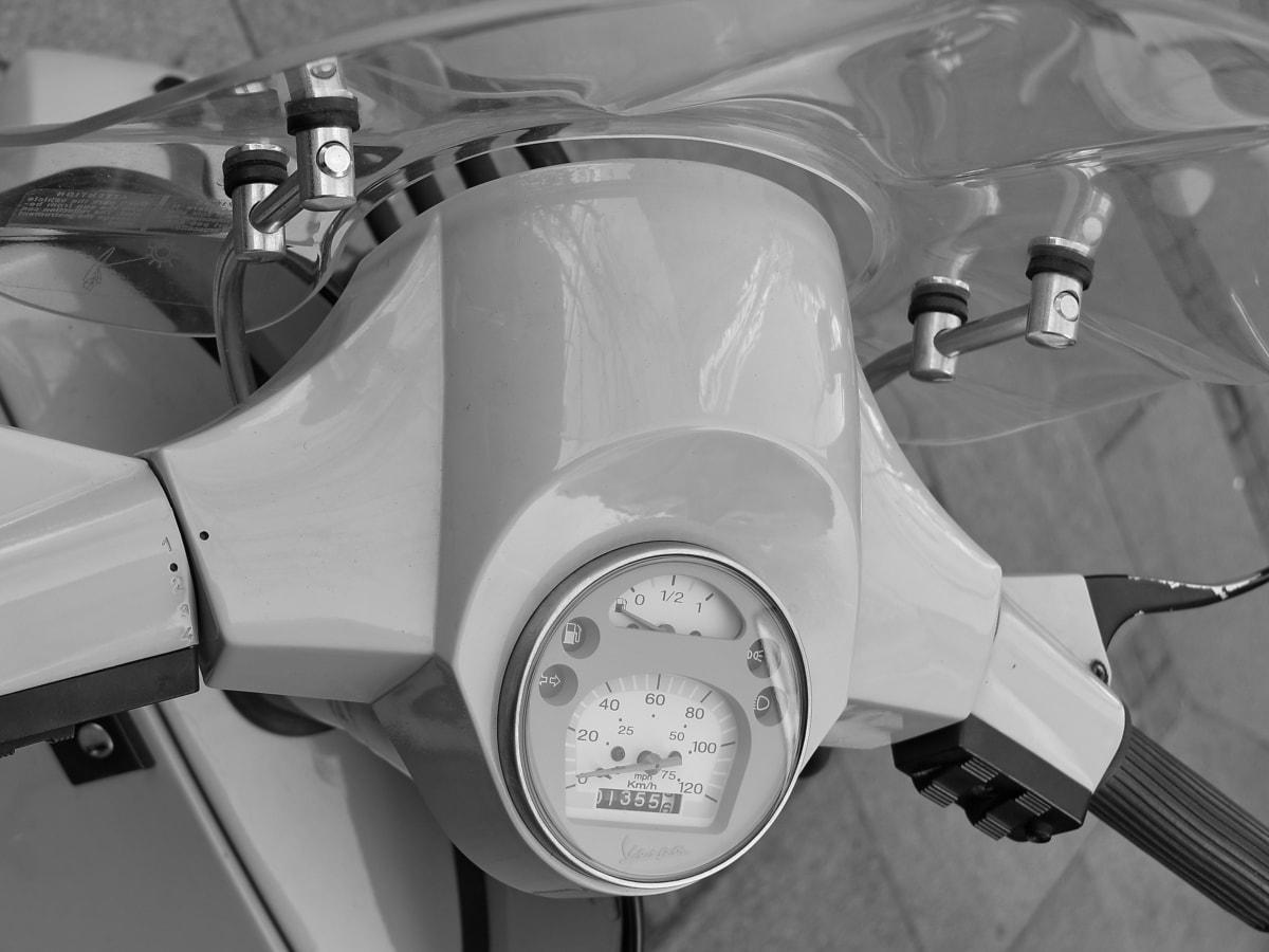 black and white, motorcycle, nostalgia, speedometer, transportation, vehicle, technology, machine