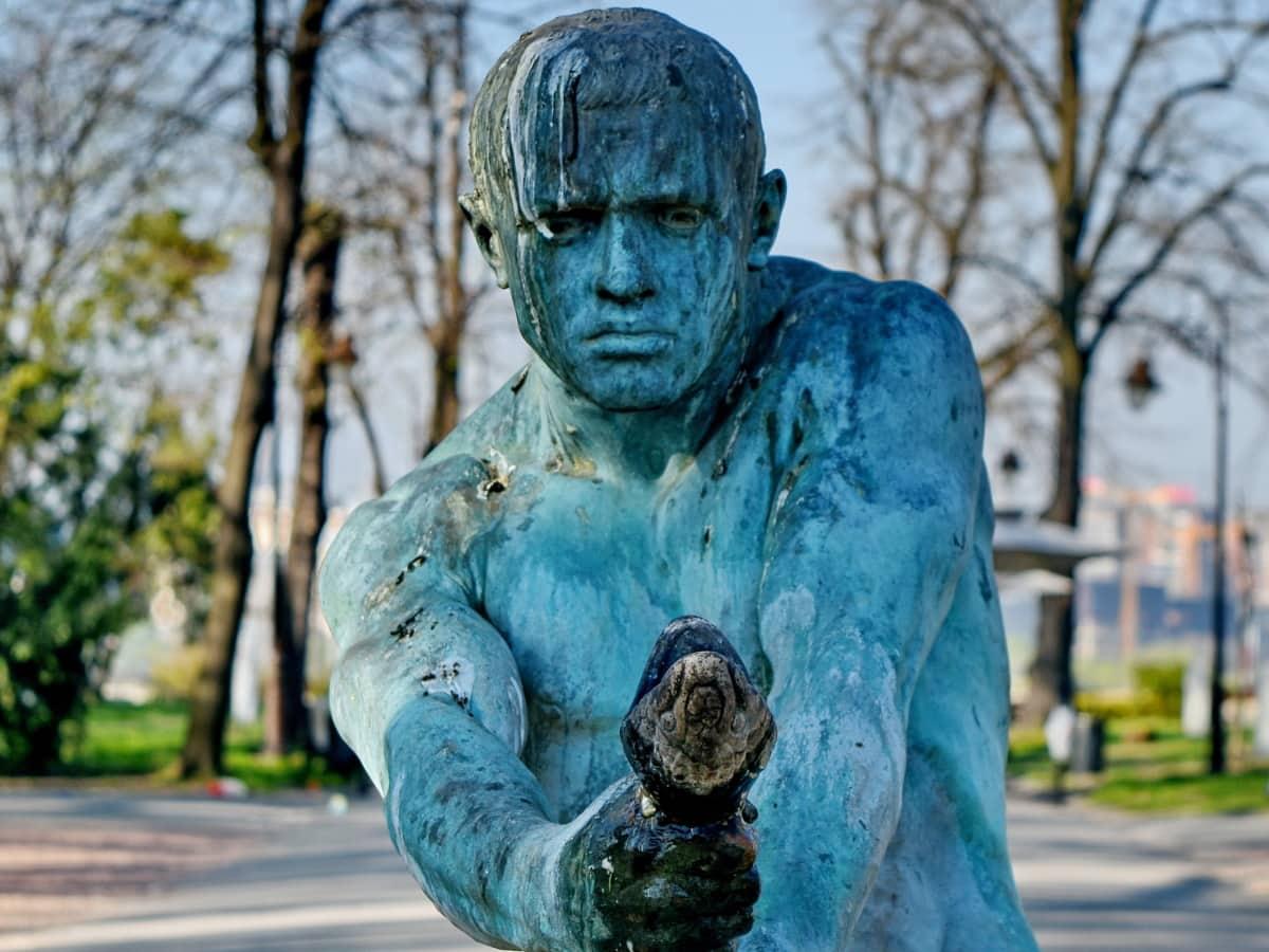 skulptur, staty, konst, monumentet, gamla, fontän, porträtt, man