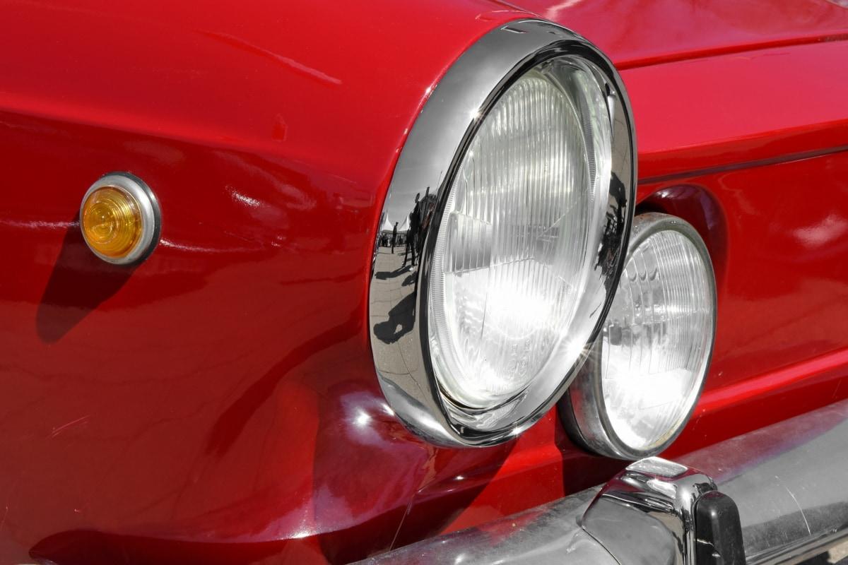 auto, chroom, koplamp, nostalgie, voertuig, auto, klassiek, reflector