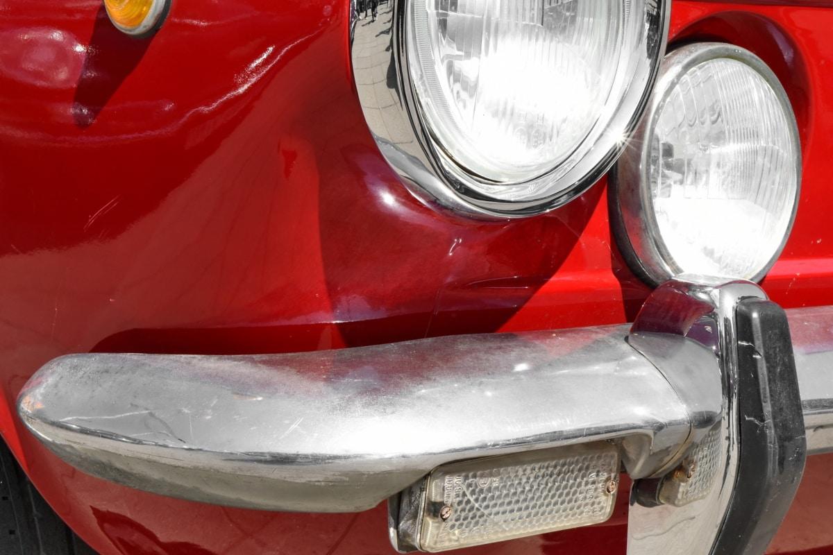 auto, nárazník, svetlometov, vozidlo, automobil, klasický, jednotky, chróm