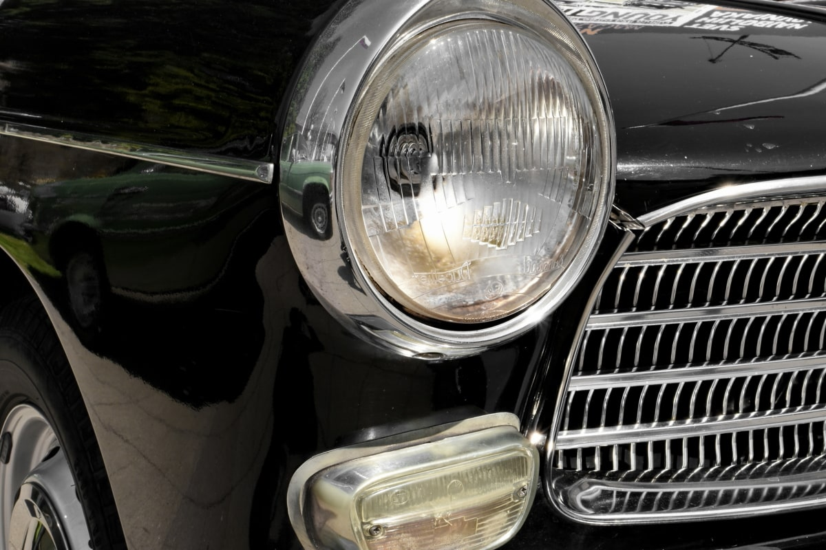 headlight, luxury, nostalgia, vehicle, classic, chrome, car, grille