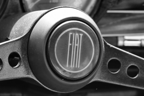 black and white, classic, monochrome, nostalgia, steering wheel, symbol, text, car