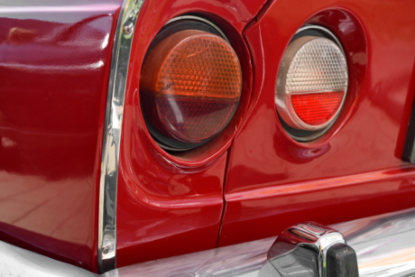 red, automobile, car, vehicle, classic, headlight, chrome, front