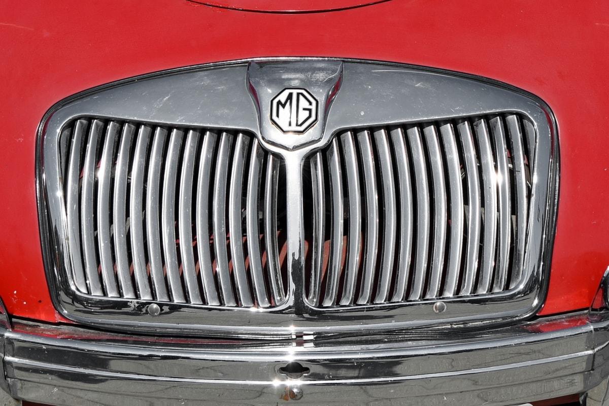 car, chrome, classic, vehicle, grille, hood, headlight, metallic