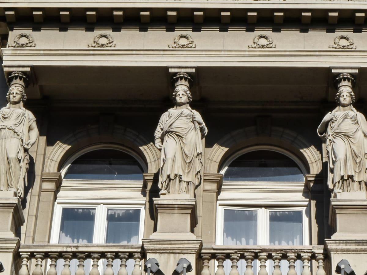 balkonem, główne miasto, architektura, budynek, fasada, Rzeźba, posąg, ludzie