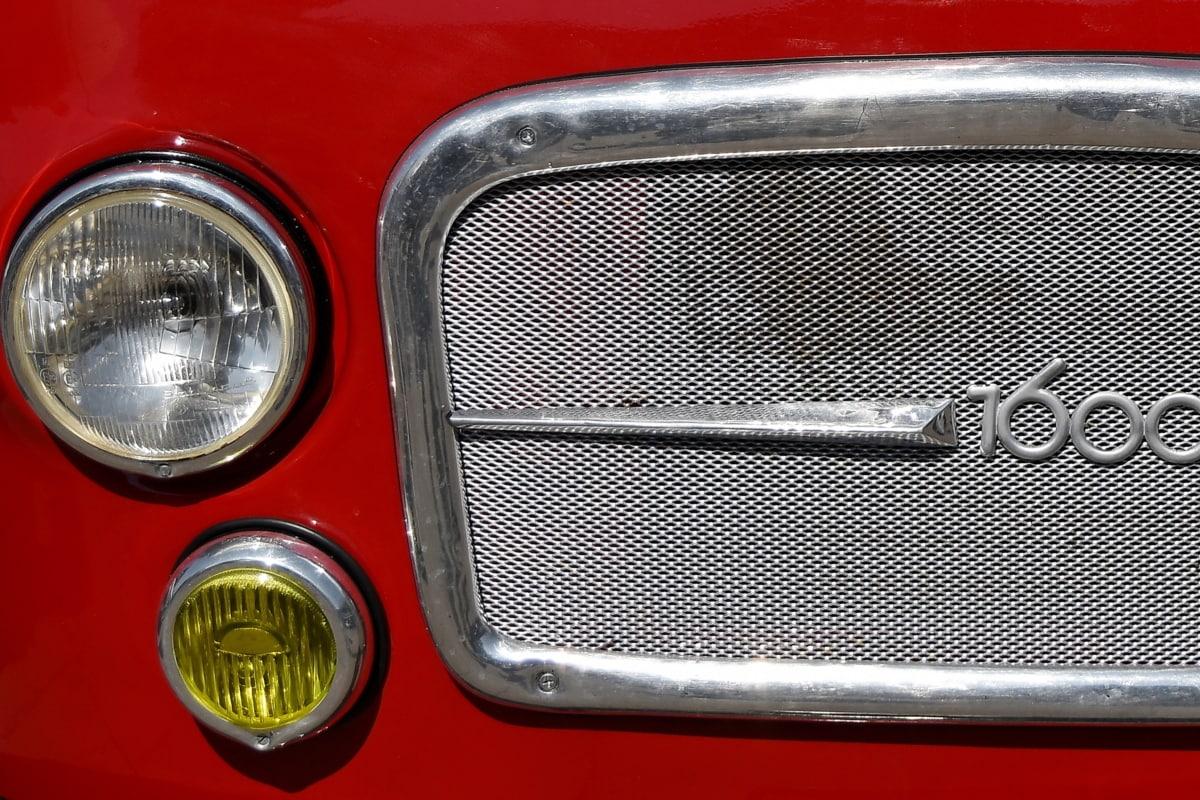 chrome, headlight, metallic, nostalgia, classic, vehicle, barrier, car