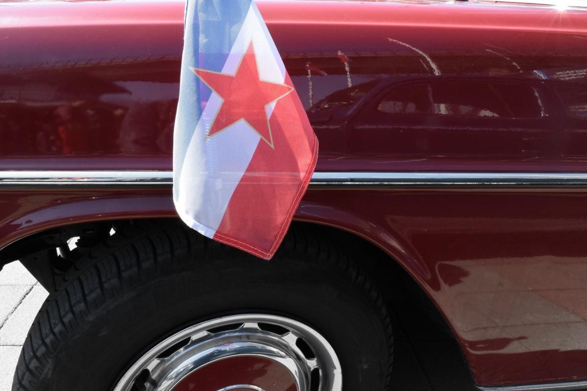 bandiera, nostalgia, vecchio, vecchio paese, vecchio stile, Jugoslavia, auto, veicolo