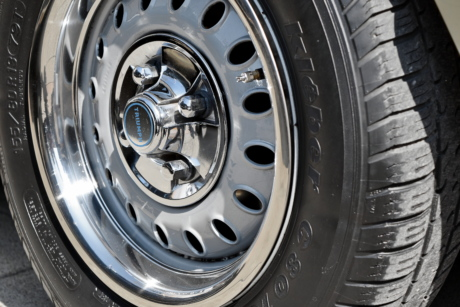 chrome, metallic, automotive, wheel, rim, tire, drive, vehicle