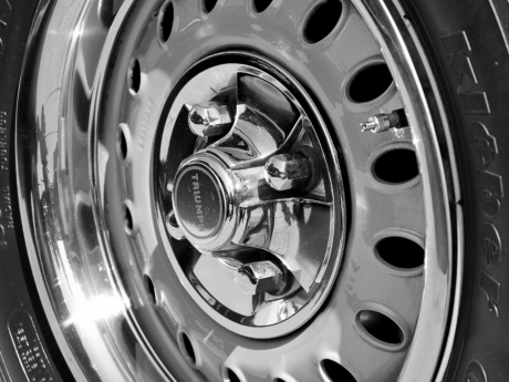 black and white, monochrome, car, tire, machine, vehicle, chrome, wheel