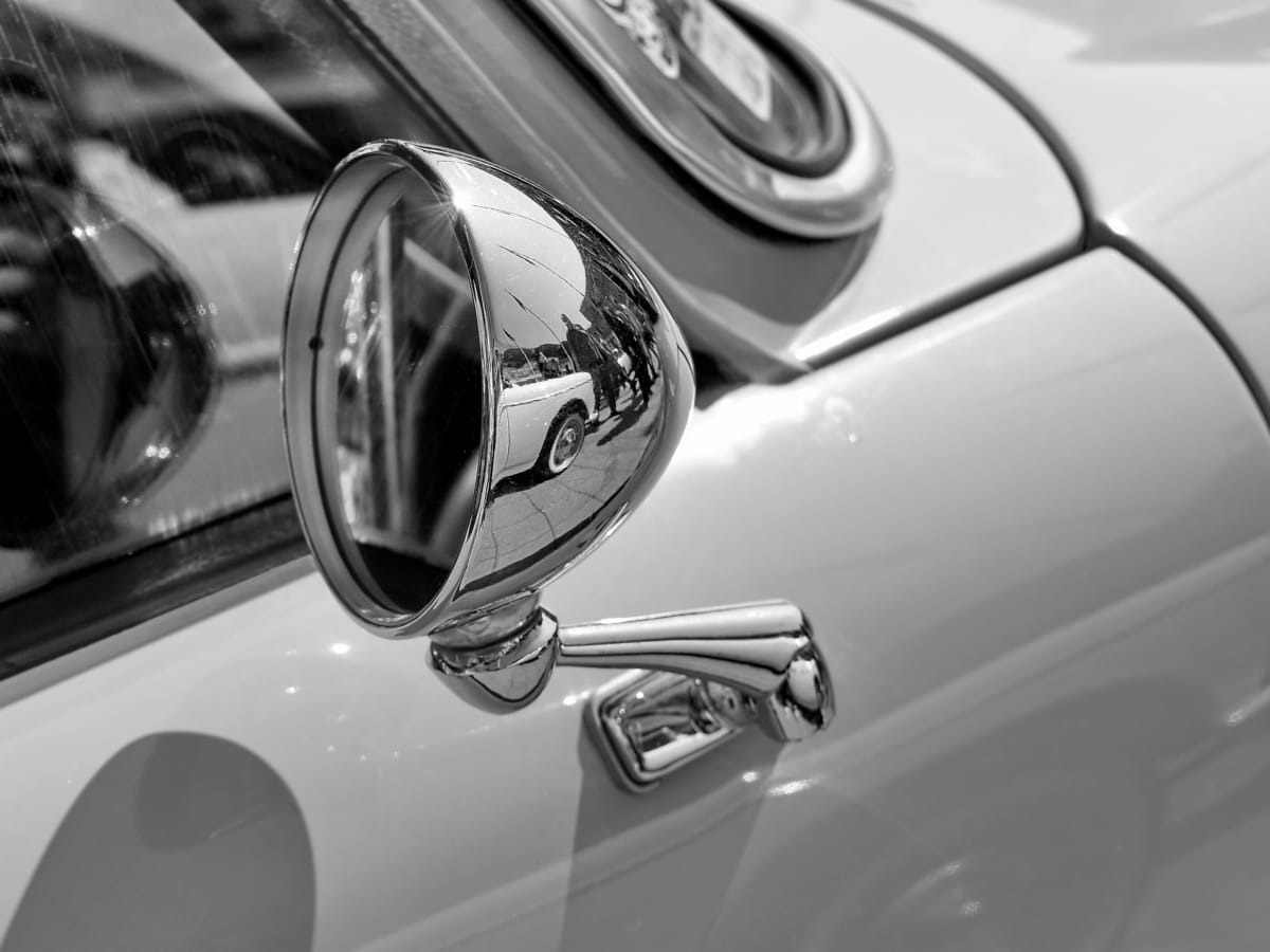 grey, mirror, nostalgia, window, transportation, automobile, car, vehicle
