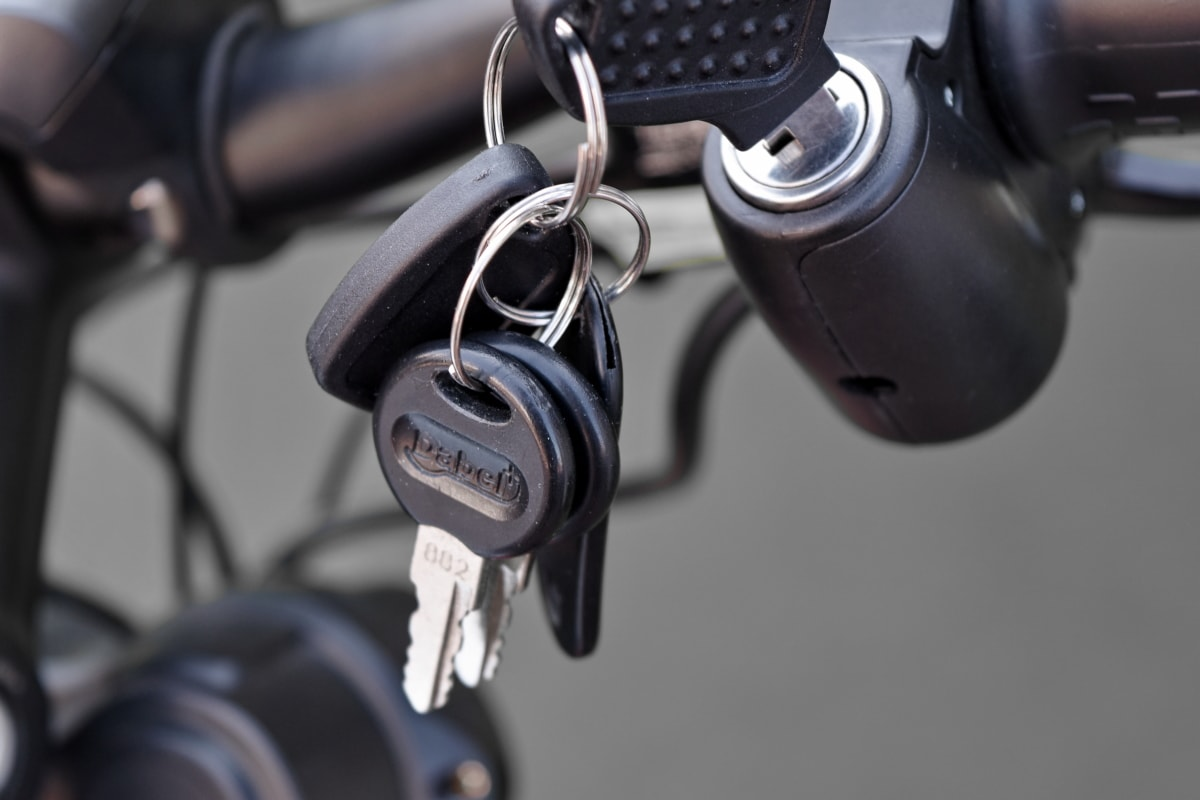 motorcycle, steering wheel, key, security, bike, equipment, technology, safety