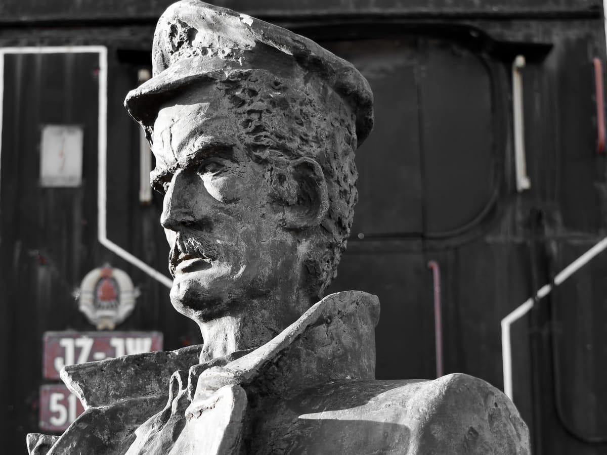 buste, damplokomotiv, toget, statue, skulptur, mand, kunst, gamle