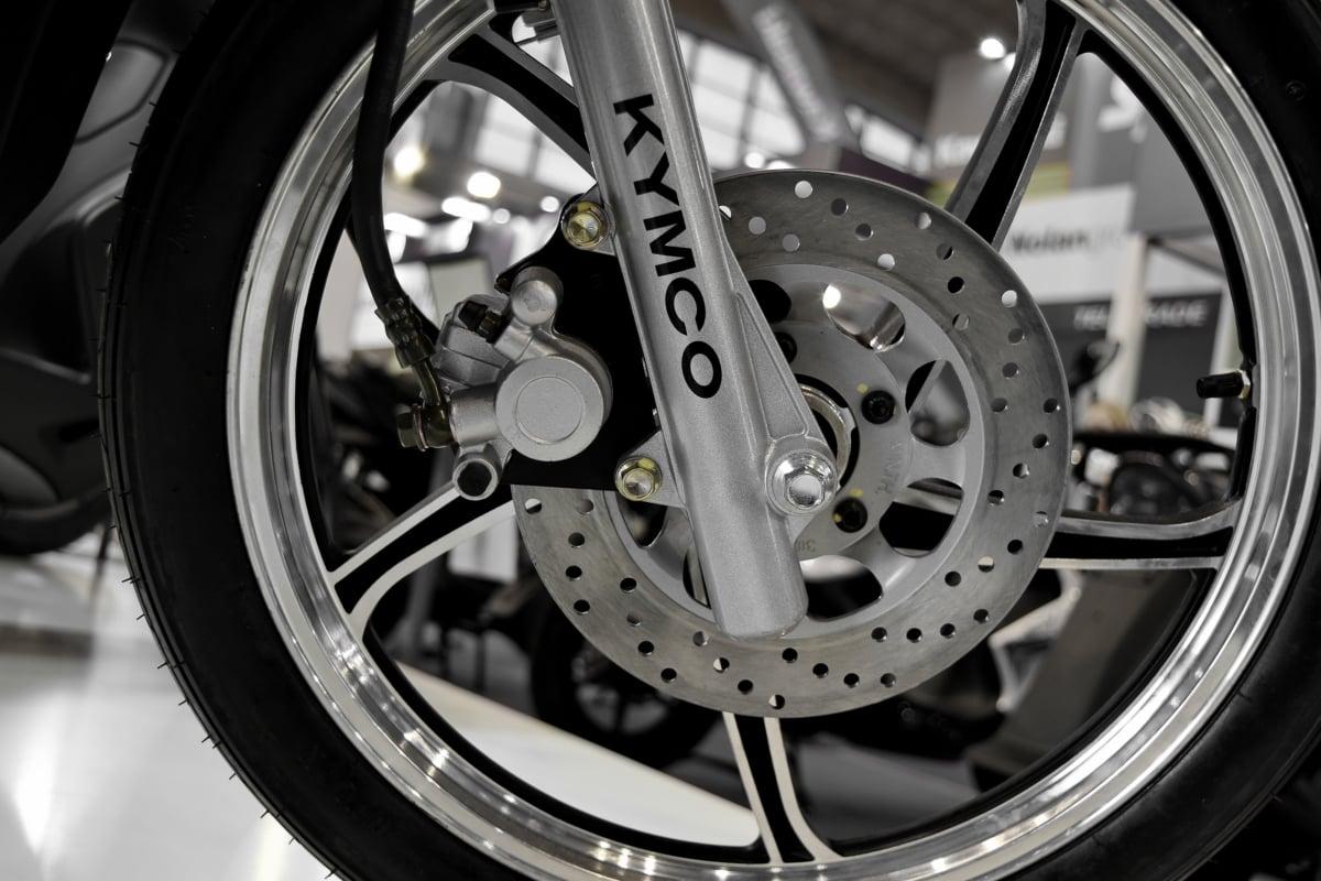 aluminum, chrome, motor, motorbike, motorcycle, wheel, brake, steel