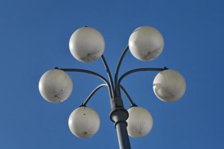 blue sky, cast iron, electricity, fair weather, object, outdoors, light, color