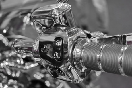 black and white, chrome, gearshift, motorcycle, equipment, vehicle, machine, bike