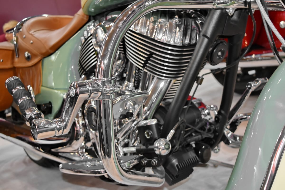 chrome, metallic, motorcycle, transportation, vehicle, drive, diesel, wheel