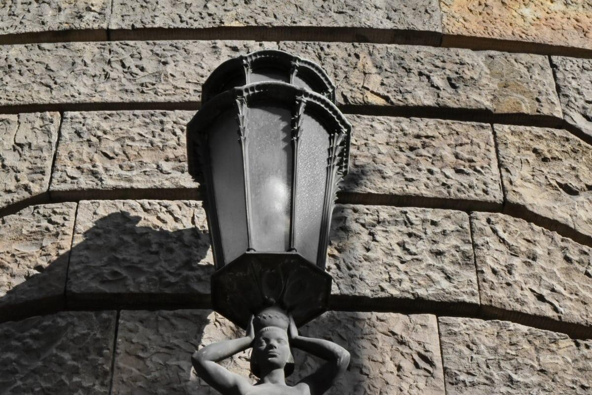 art, cast iron, lamp, sculpture, wall, street, old, architecture