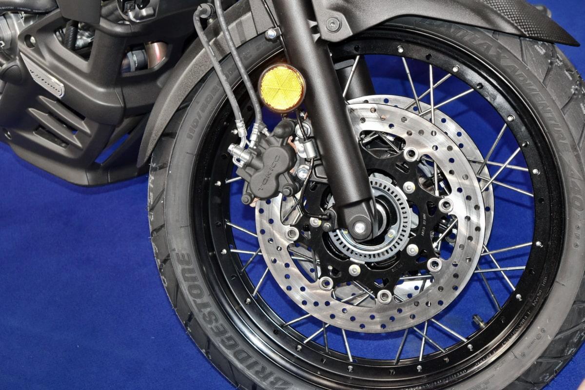 motorcycle, tire, wheel, brake, vehicle, chrome, technology, machine