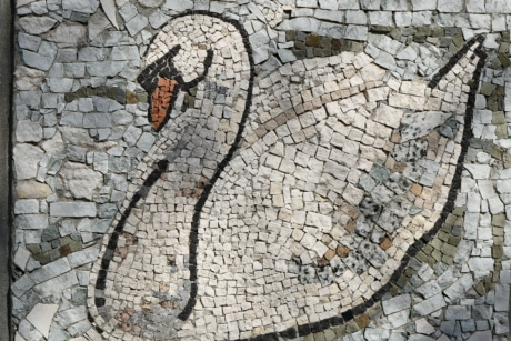 art, mosaic, swan, old, texture, tile, surface, rough