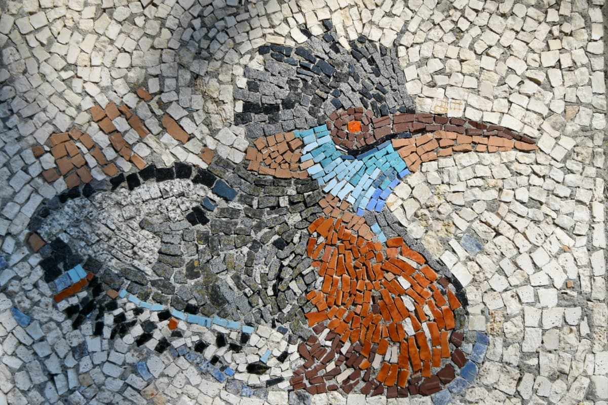 мистецтво, птах, барвистий, Мозаїка, Плитка, Старий, Текстура, візерунок