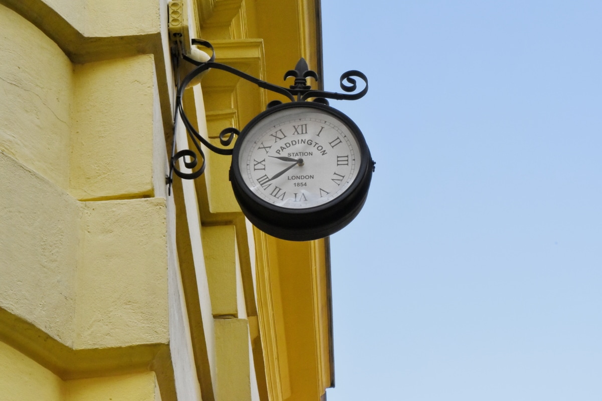 analog clock, facade, street, instrument, timer, clock, time, timepiece
