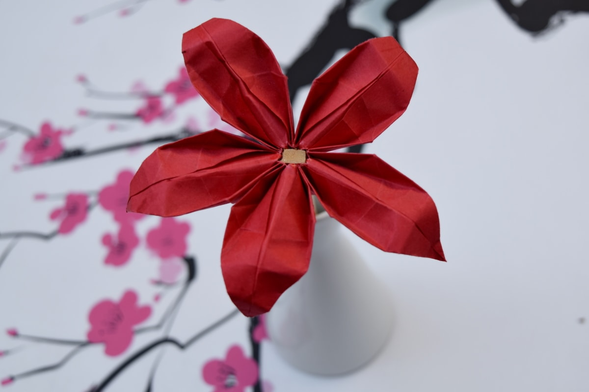 art, detail, flower, origami, paper, red, present, decoration