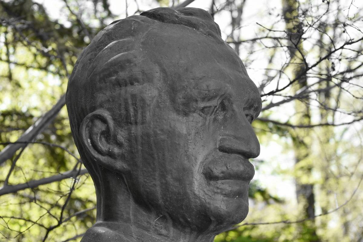 bronze, bust, statue, sculpture, portrait, face, old, park
