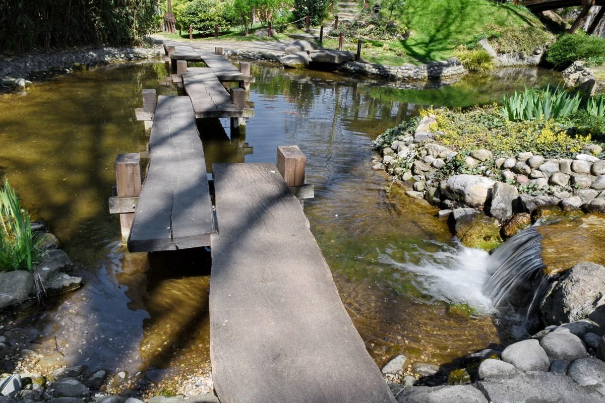 botanical, bridge, garden, japan, water, stream, river, nature