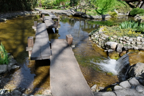 botanical, bridge, garden, japan, water, stream, river, nature