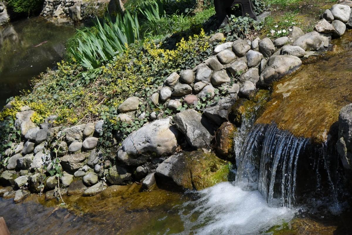 garden, river, stone, flow, nature, stream, waterfall, water