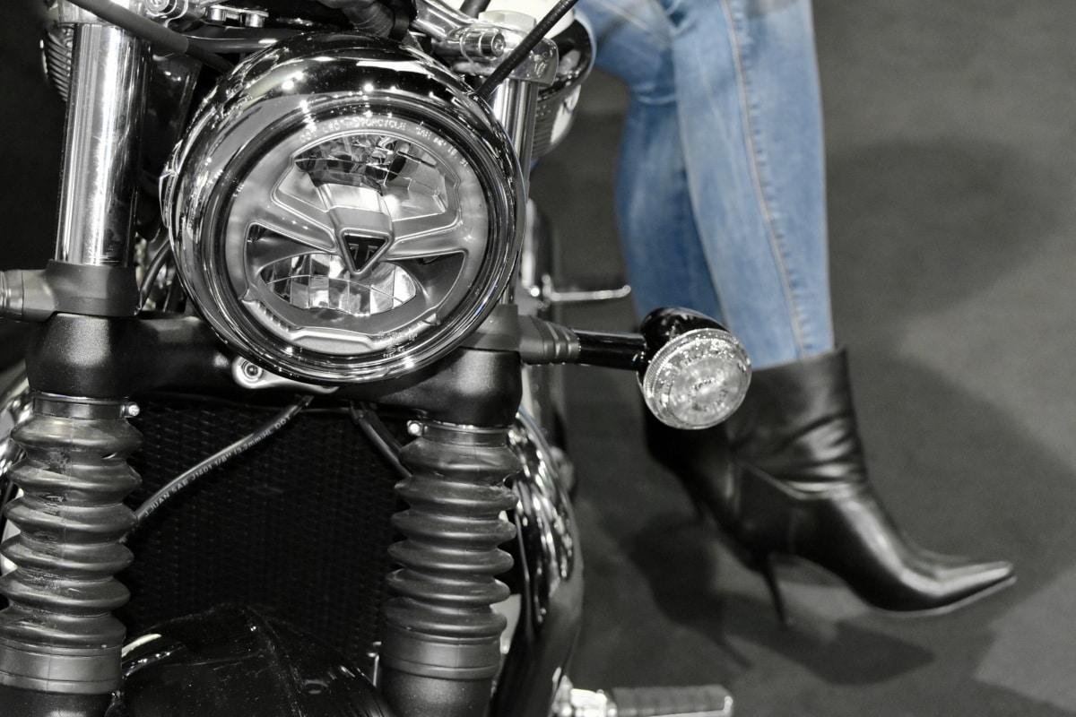chrome, headlight, motorcycle, pretty girl, mechanism, vehicle, device, wheel
