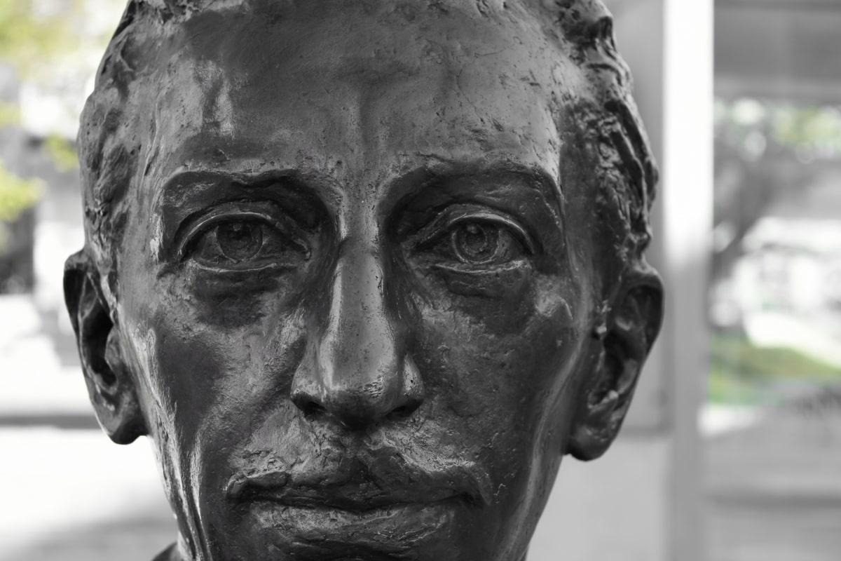 bronze, face, portrait, bust, covering, sculpture, man, statue