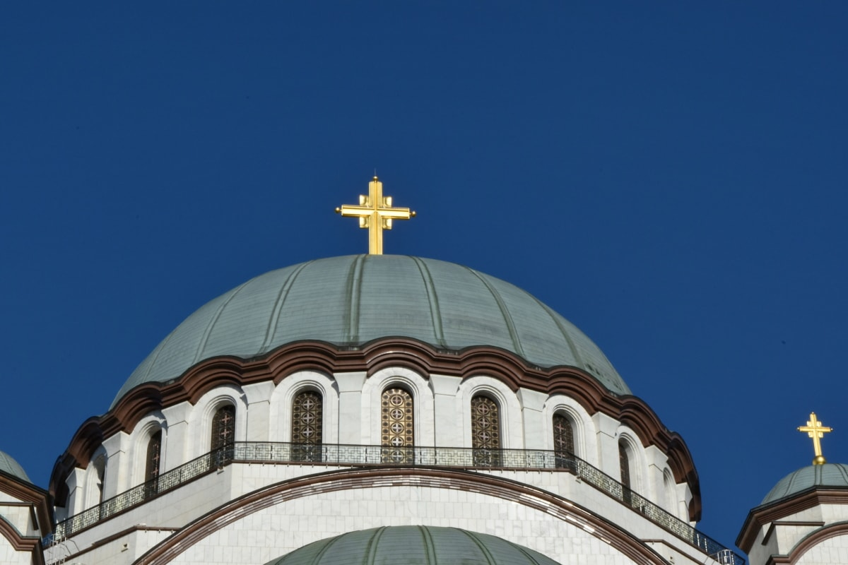 cross, gold, shining, roof, building, church, dome, religion