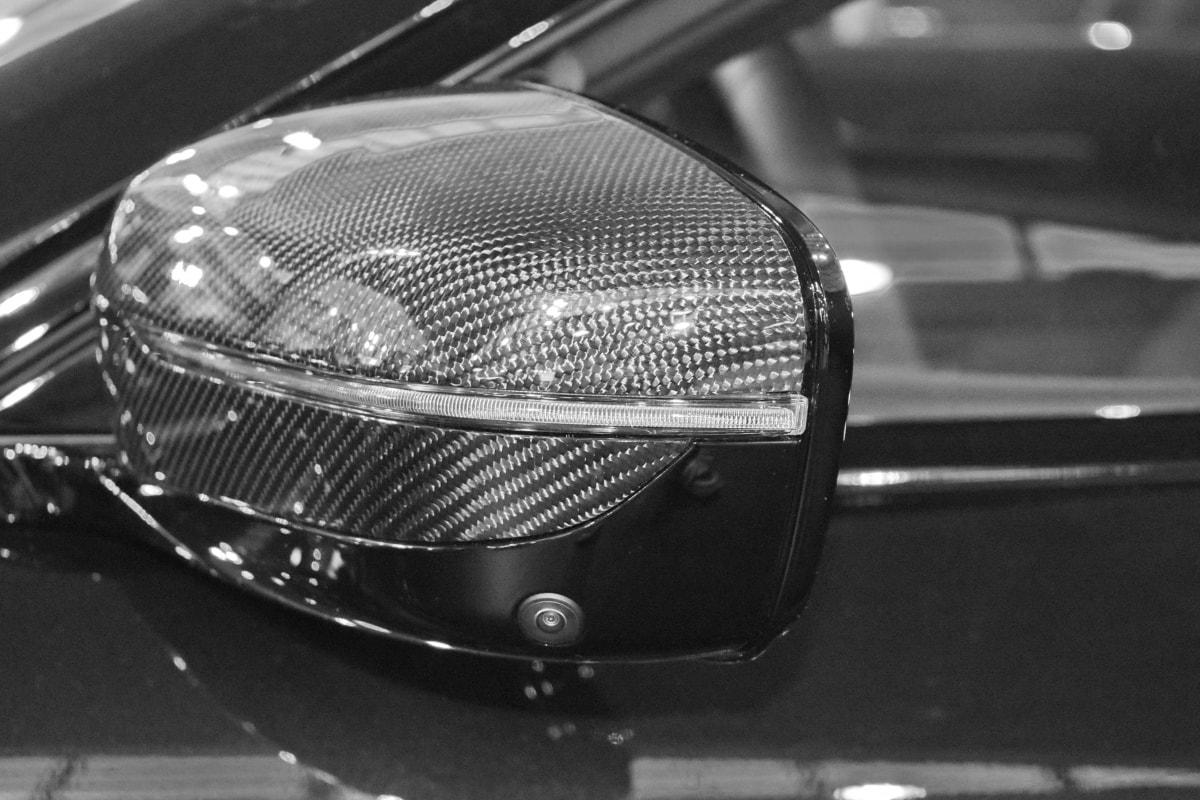 černá a bílá, uhlík, zrcadlo, reflexe, vozidlo, bariéra, automobil, mřížka