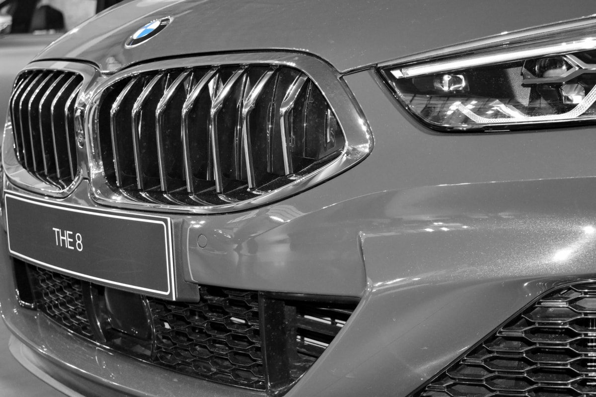 black and white, grey, headlight, grille, automobile, car, transportation, vehicle