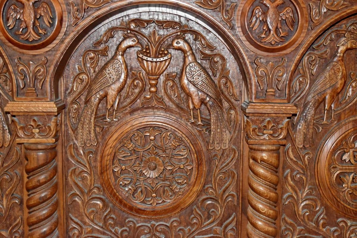 utskjæring, dekorasjon, møbler, lettelse, kunst, mønster, gamle, skulptur