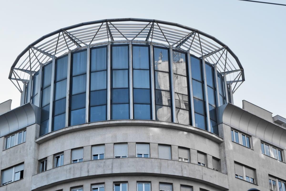 futuristico, moderno, Città, tetto, vetro, architettura, cupola, Ufficio