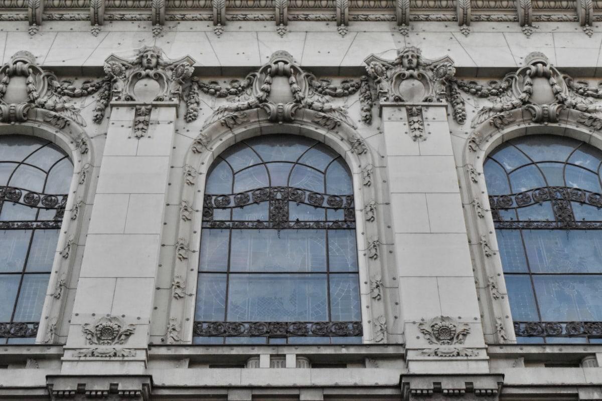 cidade principal, detail, exterior, feito à mão, edifício, arco, fachada, arquitetura